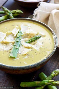 Light Creamy Asparagus Soup loaded with fresh asparagus, leeks, peas ...