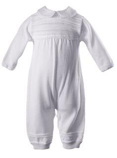 d8a163d53 Pleated Cotton Boys Short Sleeve Baptism Romper Set w. Hat 0-24m ...