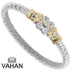 4 mm bracelet made of 14k gold, sterling silver and diamonds. Style # 22498D04 #VAHAN #VahanStyle #Bestseller #Bracelet #Gold #Silver #Diamonds