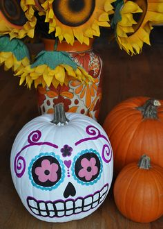 Painted Pumpkin...day of the dead (another option to a non-carve pumpkin)