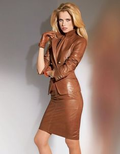 Leather fashion and chic style: MADELEINE FASHION I like the leather jacket & skirt but not so much the camel color Look Fashion, High Fashion, Autumn Fashion, Womens Fashion, Fashion Trends, Fashion Suits, Office Fashion, Leather Blazer, Leather And Lace