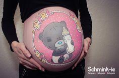 Bellypaint Buikschildering Me to You Bear Girl  www.schmink-ie.nl