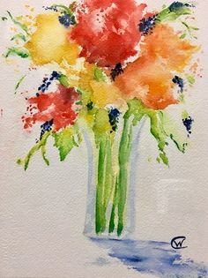 """""""Mom's Bouquet"""" watercolor painting by Wendy Cunico. Painted on watercolor paper, mounted on olive green matte, and framed in gold rustic frame. Measures 19.5x23"""" If interested, or have any questions about this item, feel free to call us at the gallery at 864.223.6229"""