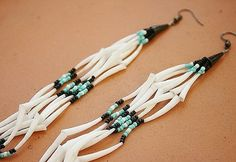 SIGHT of the MOON dentalium native american earrings - Matching Necklace also available. $30.00, via Etsy.