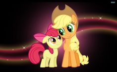 Wallpaper of Applebloom and Applejack for fans of My Little Pony Friendship is Magic.