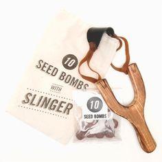 Slingshot + Seed Bomb Kit by Poketo. Because earth saving should involve creative mischief.