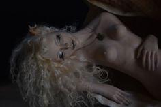 Crystal Mother of Pearl polymer ooak sculpture mermaid  #Unbranded