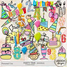 Personal Use :: Element Packs :: Party Time - Doodles