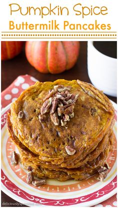 These Pumpkin Spice Buttermilk Pancakes were a HUGE hit with my family at breakfast!
