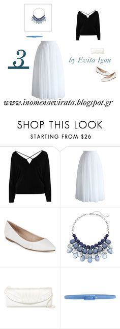 """""""4th Outfit - 5 Outfits Based On Black Cold Shoulder Strappy Batwing Top From RiverIsland"""" by evitaigou on Polyvore featuring River Island, Chicwish, BCBGeneration, Jessica McClintock, Tie-Ups, blueandwhite, skirt, RiverIsland, BlueandBlack and evitaigou"""