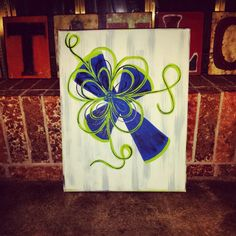 Royal blue and lime green