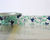 Japanese Washi Tape - Navy Teal Bird Tree, Leaves, Fall Pattern Masking Tape 15mm - This etsy seller has awesome washi tape!