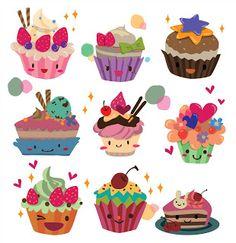 Imprimibles, imágenes y fondos para fiestas de pastelitos - cupcakes 6.