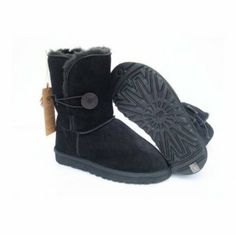 Buy Gorgeous Cheap Black UGG Bailey Button Snow Boots for Women UGG062 #ugg #boots