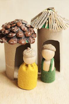 Craft/toys made from paper towel rolls,cardboard,& things from nature(twigs,leaves,ect)