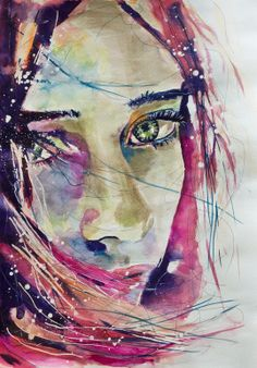 "Saatchi Online Artist: Sonja De Graaf; Watercolor 2012 Painting ""Lost in her own universe #2"""