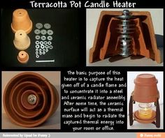 Terracotta Pot Candle Heater The basic purpose of this heater capture the heat g. Terracotta Pot C Awesome Woodworking Ideas, Woodworking Crafts, Fine Woodworking, Survival Tips, Survival Skills, Diy Heater, Diy Candle Heater, Homemade Heater, Diy Lampe