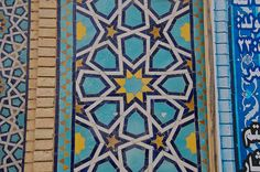 Ornamental Tilework: the tomb of Sufi saint and poet Shah Nematollah Vali, Mahan, Iran.