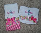 Personalized Burp Cloth and Bib Set, Perfect for Shower or Birthday
