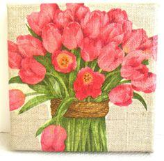 Le Bouquet de Tulipes collage sur lin 12 x 12 cm. de MATT et les Petits Cadeaux sur DaWanda.com