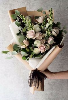 24 Best Floral Shop Ideas - fancydecors - Handheld bouquet of flowers with lots of eucalyptus and rannunculus and whites and pinks - Amazing Flowers, Fresh Flowers, Beautiful Flowers, Spring Flowers, Winter Flowers, Simple Flowers, Simply Beautiful, Wedding Bouquets, Wedding Flowers