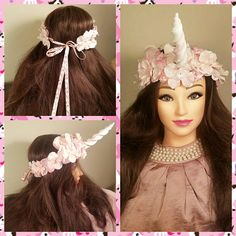 Unicorn Crown Pink A Pink and White Unicorn Flower Crown tied with pink cherry blossom ribbon. Visit https://www.etsy.com/listing/540038915/unicorn-crown-pink-a-pink-and-white