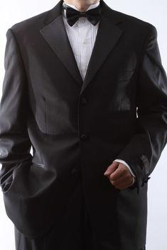7b6ad2eb8f5745 MENS 3 BUTTON SUPERIOR 150S BLACK TUXEDO SIZE 40R SML-T60513-BLK #fashion