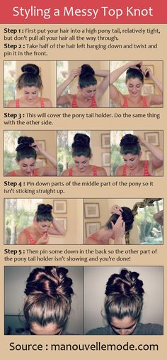 Styling a Messy Top Knot- very cute