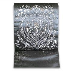 お仕立て込:浅山織物 鱗彩真珠箔 西陣織袋帯【エンブレム華文 グレー】