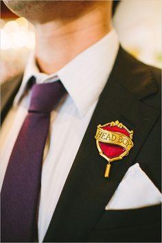 Harry Potter boutonniere idea @weddingchicks