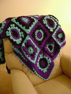 Warm Crochet Granny Square Afghan by FunHandmadeCrochet on Etsy, $90.00