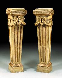 A pair of Louis XVI Grey-painted znd parcel-gilt pedestals (c. 1770)) possibly by Jean-Charles Delafosse and previously owned by Consuelo Vanderbilt Balsan, Hôtel de Marlborough, 9 Avenue Charles-Floquet, Paris, thence by descent Lady Sarah Consuelo Spencer-Churchill sold at Christie's New York auction 26 Oct 2001 for $ 41,125. Sale 9756, Lot 236.