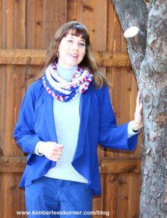 navy knit jacket sewn by Kimberlee Kimberlees Korner Knit Jacket, Sewing Projects, Navy, Knitting, Jackets, Style, Fashion, Hale Navy, Down Jackets
