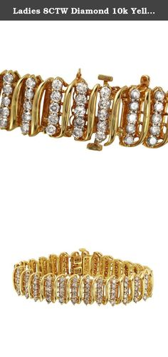 Ladies 8CTW Diamond 10k Yellow Gold Bracelet. Product Type: Bracelet Condition: Brand New Gender: Ladies Country of Origin: US Setting Type: Prong Main Gemstone name: Diamond Main Gemstone color: Dark Champagne Main Gemstone clarity: SI1-SI2 Main Gemstone shape: Round Main Gemstone creation method: Natural Main Gemstone quantity: 135 Main Gemstone ctw: 8 Total carat weight: 8 Total weight (g): 30.5 Total length (in): 7 Total width (mm): 15 Clasp lock closure type: Box clasp Main material:...