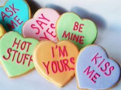 Items similar to Conversation Heart Cookies 1 Dozen on Etsy Valentines Day Cookies, Quotes Valentines Day, Valentine Day Gifts, Valentine Ideas, Birthday Cookies, Valentine Decorations, Valentine Heart, My Funny Valentine, Holiday Treats