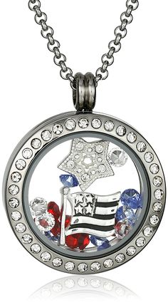 Charmed Lockets Swarovski Crystal Americana Floating Charm Locket Necklace, 24' *** Additional details at the pin image, click it  : Jewelry