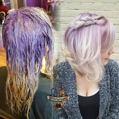 To create this icey Blond with a lilac metallic shadow root I used @kenraprofessional #kenracolor 10vm and violet booster I pulled it through the ends in the last 5 minutes of processing to create the end color  #brazilianbondbuilder #b3 #guytangfavorites #guytanghairbattle