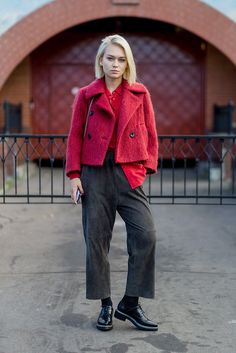 When sass meets smart: bright red is a cool, striking option in the form of a boxy, double-breasted jacket, especially when teamed with cropped ankle-length trousers and a brogue. Hotness