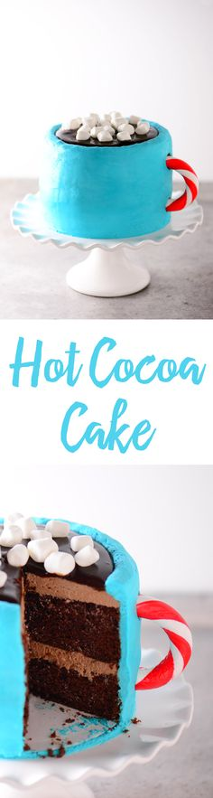 This Hot Cocoa Cake is the perfect thing to enjoy after a day of fun winter activities. With hot chocolate buttercream, chocolate ganache, and even mini marshmallows, this cake is sure to be a hit!