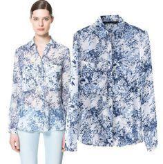 Hot sale drop ship women vintage long sleeves printed blue shirt slim elegant branded blouse OL style women tops CSH147 $12.98