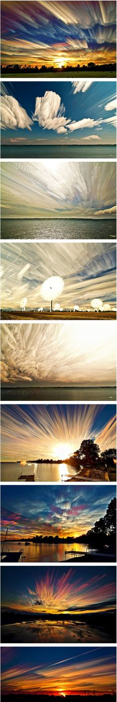 Matt Molloy calls this series Smeared Skys. Cool Pictures, Cool Photos, Beautiful Pictures, Beautiful Sky, Beautiful World, Natural Phenomena, Sky And Clouds, Amazing Nature, Science Nature
