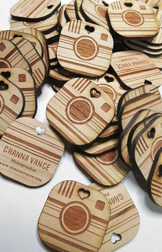 75  1.5 x 1.5 Custom Wood Tags  Custom Engraved Tags maybe make apples instead of cameras.