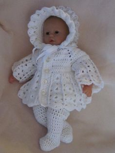 Discover thousands of images about Handmade Baby Shower Christening/Baptism Newborn Girl Baby Knitting Patterns, Baby Patterns, Baby Cardigan, Baby Boy Christening Outfit, Baby Baptism, Baby Girl Sweaters, Take Home Outfit, Baby Girl Crochet, Crochet Doll Clothes