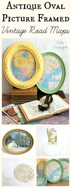 Antique oval frames from the thrift store...when paired with snippets from a vintage road map make for fantastic wall art & decor! Easy to make with stunning results, this repurpose / upcycle DIY project is perfect for a den, office, or man cave. Personalize your frames with paint, and showcase towns you've lived in or vacationed to. #SadieSeasongoods / www.sadieseasongoods.com