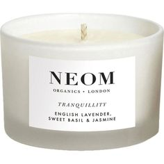NEOM LUXURY ORGANICS Tranquility travel candle ($25) ❤ liked on Polyvore featuring home, home decor, candles & candleholders, fillers, candles, accessories, simple set fillers, scented candles, lavender candle and lilac candle