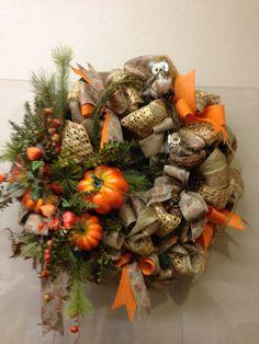 Autumn Equinox:  Burlap Wreath, for the #Autumn #Equinox.
