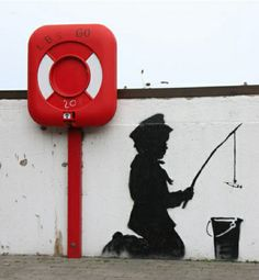 Stencil graffiti makes use of a paper, cardboard, or other media to create an image or text that is easily reproducible. The desired design is cut out of the selected medium and then the image is transferred to a surface through the use of spray paint or roll-on paint. Banksy carries it out  by expressing his feelings in his work.