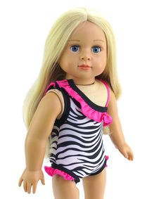Take a look at this American Fashion World Pink & White Zebra Swimsuit for 18'' Doll today!