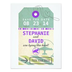 Pack your bags and get ready to fly! A sweet and simple save the date for any destination wedding. Shown in sea glass inspired shades of sage green and light aqua with a pop of bright purple. Customise with your names, location and wedding date.
