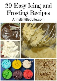 20 Easy Icing and Frosting Recipes; Whatever your definition, frosting and icing are a pretty sweet deal to finish off your cake, cookies or cupcakes to perfection! Here are 20 Easy Icing and Frosting Recipes. Choose one the next time you are looking for the perfect icing or frosting recipe to complete your sweet treat! http://www.annsentitledlife.com/recipes/20-easy-icing-and-frosting-recipes/